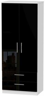Knightsbridge 2 Door 2 Drawer Wardrobe - High Gloss Black and White