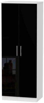 Knightsbridge 2 Door Tall Wardrobe - High Gloss Black and White