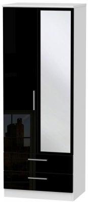 Knightsbridge 2 Door Tall Combi Wardrobe - High Gloss Black and White