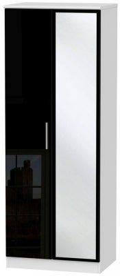 Knightsbridge 2 Door Tall Mirror Wardrobe - High Gloss Black and White