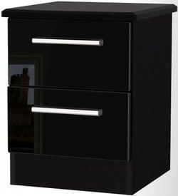 Knightsbridge High Gloss Black 2 Drawer Bedside Cabinet