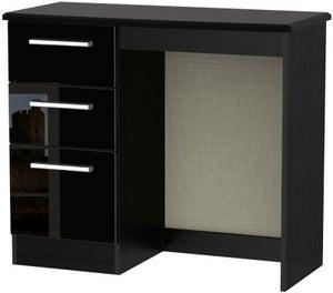 Knightsbridge High Gloss Black Single Pedestal Dressing Table