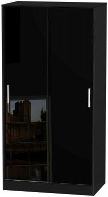 Knightsbridge High Gloss Black 2 Door Sliding Wardrobe