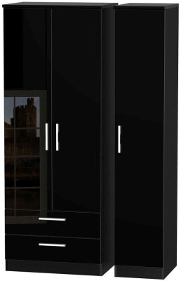 Knightsbridge High Gloss Black 3 Door 2 Drawer Tall Wardrobe