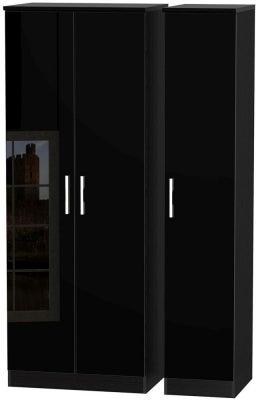 Knightsbridge High Gloss Black 3 Door Tall Wardrobe