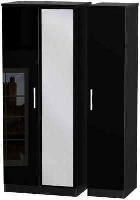 Knightsbridge High Gloss Black 3 Door Mirror Wardrobe