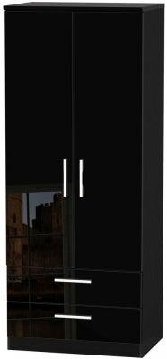 Knightsbridge High Gloss Black 2 Door 2 Drawer Wardrobe