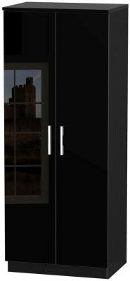 Knightsbridge High Gloss Black 2 Door Wardrobe