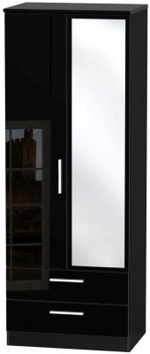 Knightsbridge High Gloss Black 2 Door Tall Combi Wardrobe