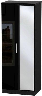 Knightsbridge High Gloss Black 2 Door Tall Mirror Wardrobe