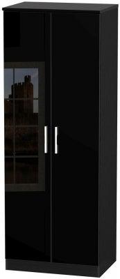 Knightsbridge High Gloss Black 2 Door Tall Wardrobe