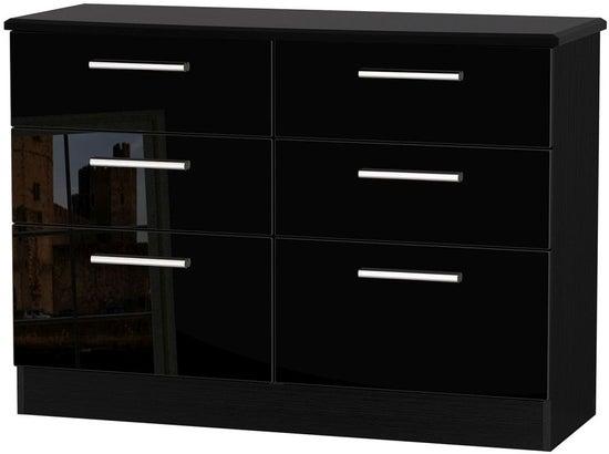 Knightsbridge High Gloss Black 6 Drawer Midi Chest