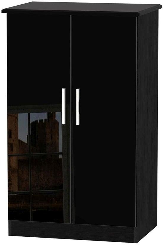 Knightsbridge High Gloss Black 2 Door Midi Wardrobe