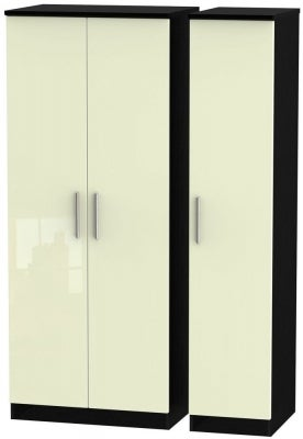 Knightsbridge 3 Door Wardrobe - High Gloss Cream and Black