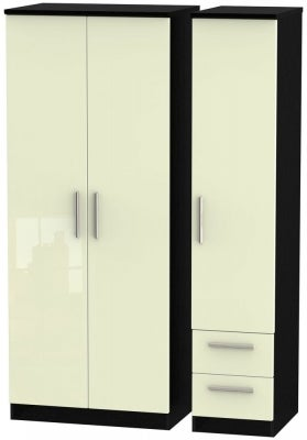Knightsbridge 3 Door 2 Right Drawer Wardrobe - High Gloss Cream and Black
