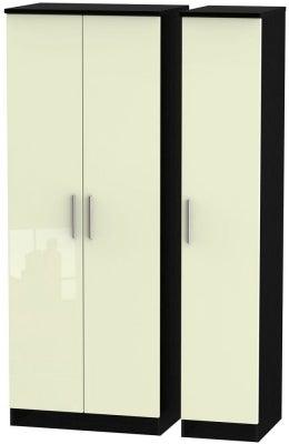 Knightsbridge 3 Door Tall Wardrobe - High Gloss Cream and Black