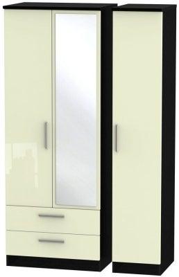 Knightsbridge 3 Door 2 Left Drawer Tall Combi Wardrobe - High Gloss Cream and Black