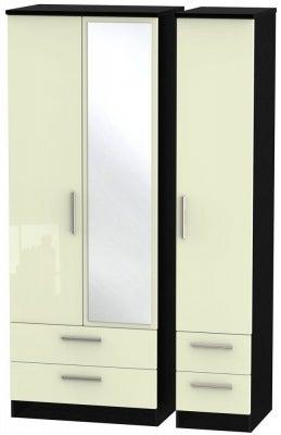 Knightsbridge 3 Door 4 Drawer Tall Combi Wardrobe - High Gloss Cream and Black