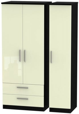 Knightsbridge 3 Door 2 Left Drawer Wardrobe - High Gloss Cream and Black