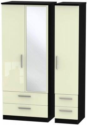 Knightsbridge 3 Door 4 Drawer Combi Wardrobe - High Gloss Cream and Black