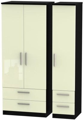 Knightsbridge 3 Door 4 Drawer Wardrobe - High Gloss Cream and Black