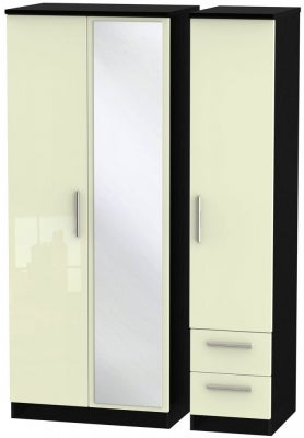 Knightsbridge 3 Door 2 Right Drawer Combi Wardrobe - High Gloss Cream and Black