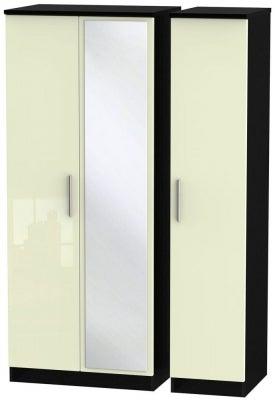 Knightsbridge 3 Door Mirror Wardrobe - High Gloss Cream and Black