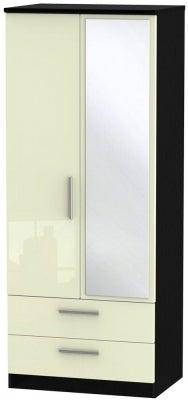 Knightsbridge 2 Door Combi Wardrobe - High Gloss Cream and Black