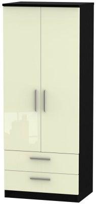Knightsbridge 2 Door 2 Drawer Wardrobe - High Gloss Cream and Black