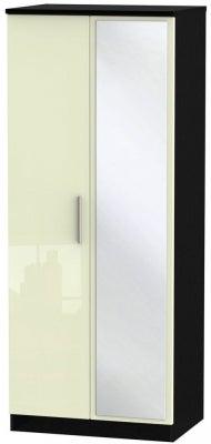 Knightsbridge 2 Door Mirror Wardrobe - High Gloss Cream and Black
