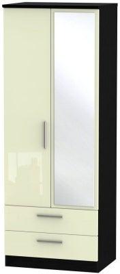 Knightsbridge 2 Door Tall Combi Wardrobe - High Gloss Cream and Black