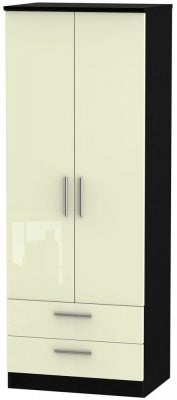 Knightsbridge 2 Door 2 Drawer Tall Wardrobe - High Gloss Cream and Black