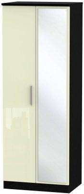 Knightsbridge 2 Door Tall Mirror Wardrobe - High Gloss Cream and Black