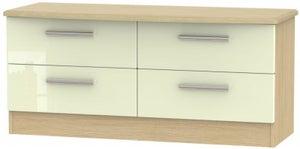 Knightsbridge Bed Box - High Gloss Cream and Light Oak