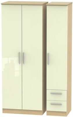 Knightsbridge 3 Door 2 Right Drawer Tall Wardrobe - High Gloss Cream and Light Oak