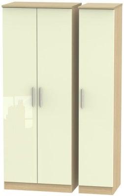 Knightsbridge 3 Door Tall Wardrobe - High Gloss Cream and Light Oak