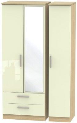 Knightsbridge 3 Door 2 Left Drawer Tall Combi Wardrobe - High Gloss Cream and Light Oak