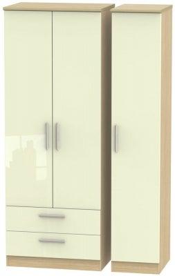 Knightsbridge 3 Door 2 Left Drawer Tall Wardrobe - High Gloss Cream and Light Oak