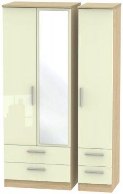 Knightsbridge 3 Door 4 Drawer Tall Combi Wardrobe - High Gloss Cream and Light Oak