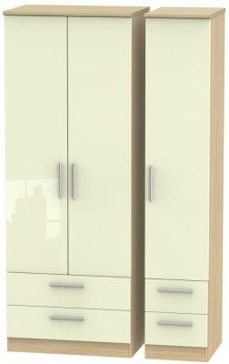 Knightsbridge 3 Door 4 Drawer Tall Wardrobe - High Gloss Cream and Light Oak