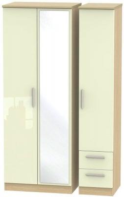 Knightsbridge 3 Door 2 Right Drawer Tall Combi Wardrobe - High Gloss Cream and Light Oak