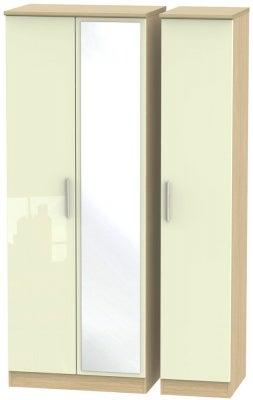 Knightsbridge 3 Door Tall Mirror Wardrobe - High Gloss Cream and Light Oak
