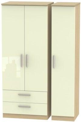 Knightsbridge 3 Door 2 Left Drawer Wardrobe - High Gloss Cream and Light Oak