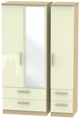 Knightsbridge 3 Door 4 Drawer Combi Wardrobe - High Gloss Cream and Light Oak