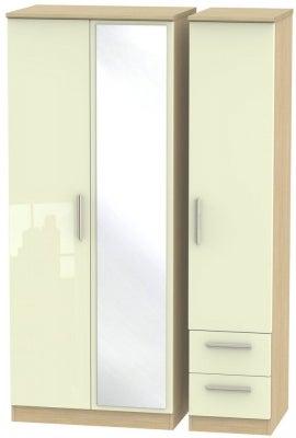 Knightsbridge 3 Door 2 Right Drawer Combi Wardrobe - High Gloss Cream and Light Oak