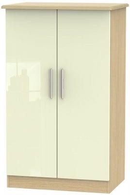 Knightsbridge 2 Door Midi Wardrobe - High Gloss Cream and Light Oak