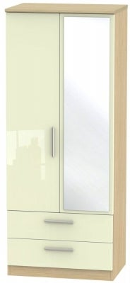 Knightsbridge 2 Door Combi Wardrobe - High Gloss Cream and Light Oak