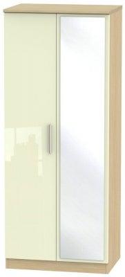 Knightsbridge 2 Door Mirror Wardrobe - High Gloss Cream and Light Oak