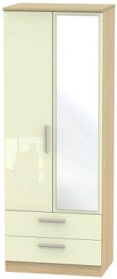 Knightsbridge 2 Door Tall Combi Wardrobe - High Gloss Cream and Light Oak