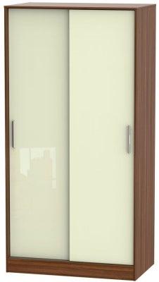 Knightsbridge 2 Door Sliding Wardrobe - High Gloss Cream and Noche Walnut